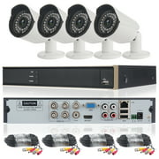 DID 4CH AHD 720P CCTV Camera Security System with 4 pcs IP Outdoor IR Night Vision Home Security Camera System White (Wireless Supporting iPhone & Android)