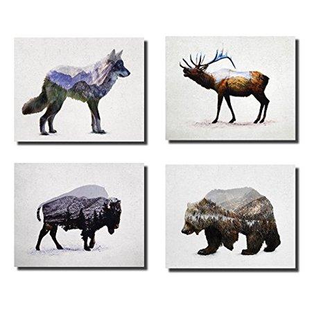 Rustic Elk, Bison, Wolf and Bear Landscape Set; Cabin Lodge Decor; Four 10x8in Unframed Poster Print