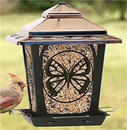 Woodlink NA32321 Bird Feeder, Hopper Style With Butterfly Accents, Metal