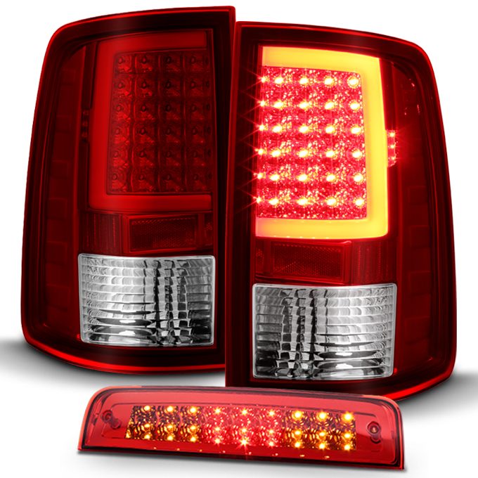 FIT 07-14 CHEVY SILVERADO 3D C-BAR TAIL+LED 3RD THIRD BRAKE//CARGO LIGHT BLACK