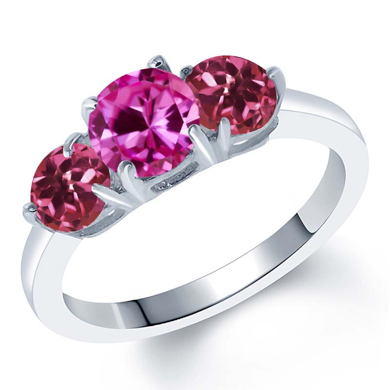 2.00 Ct Round Pink Created Sapphire Pink Tourmaline 925 Sterling Silver Ring by