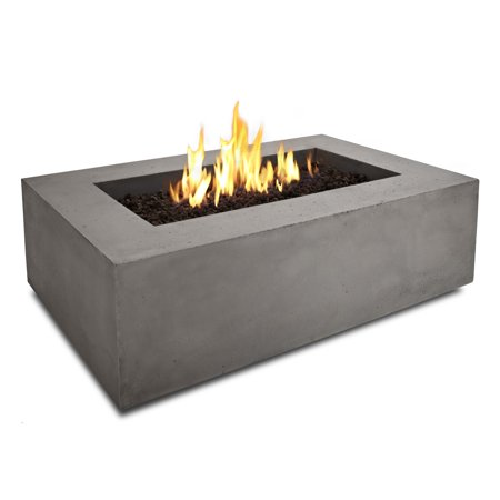 Real Flame Rectangle Fire Table Glacier
