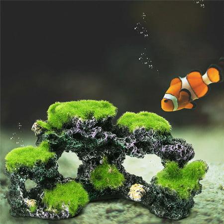 Coral Rock (Aquarium Mountain Coral Reef Rock Cave Stone Moss View Fish Tank Ornament Decor)