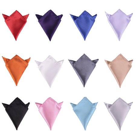 Pack of 12 Pcs Mens Solid Mixed Color Pocket Squares Set Wedding Handkerchiefs ()