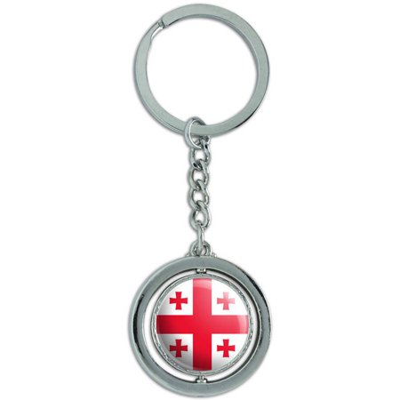 Georgia National Country Flag Spinning Round Metal Key Chain Keychain Ring