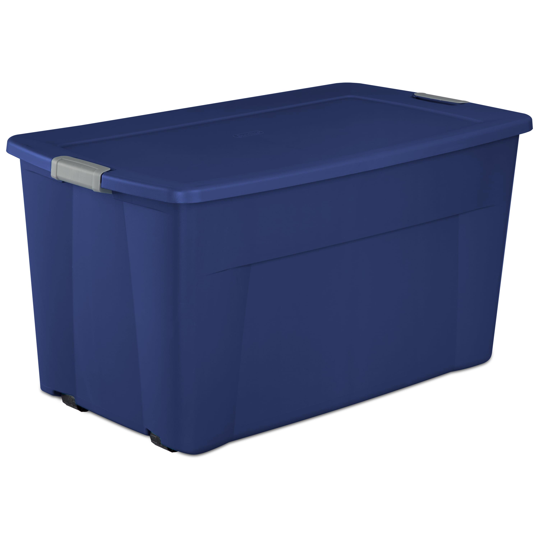 sterilite 45 gal 170 l wheeled latch tote stadium blue. Black Bedroom Furniture Sets. Home Design Ideas
