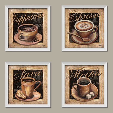 Lovely Clic Coffee Cups Mocha Cacino Espresso And Java Signs Kitchen Decor Four 12 By Inch White Framed Prints Ready To Hang