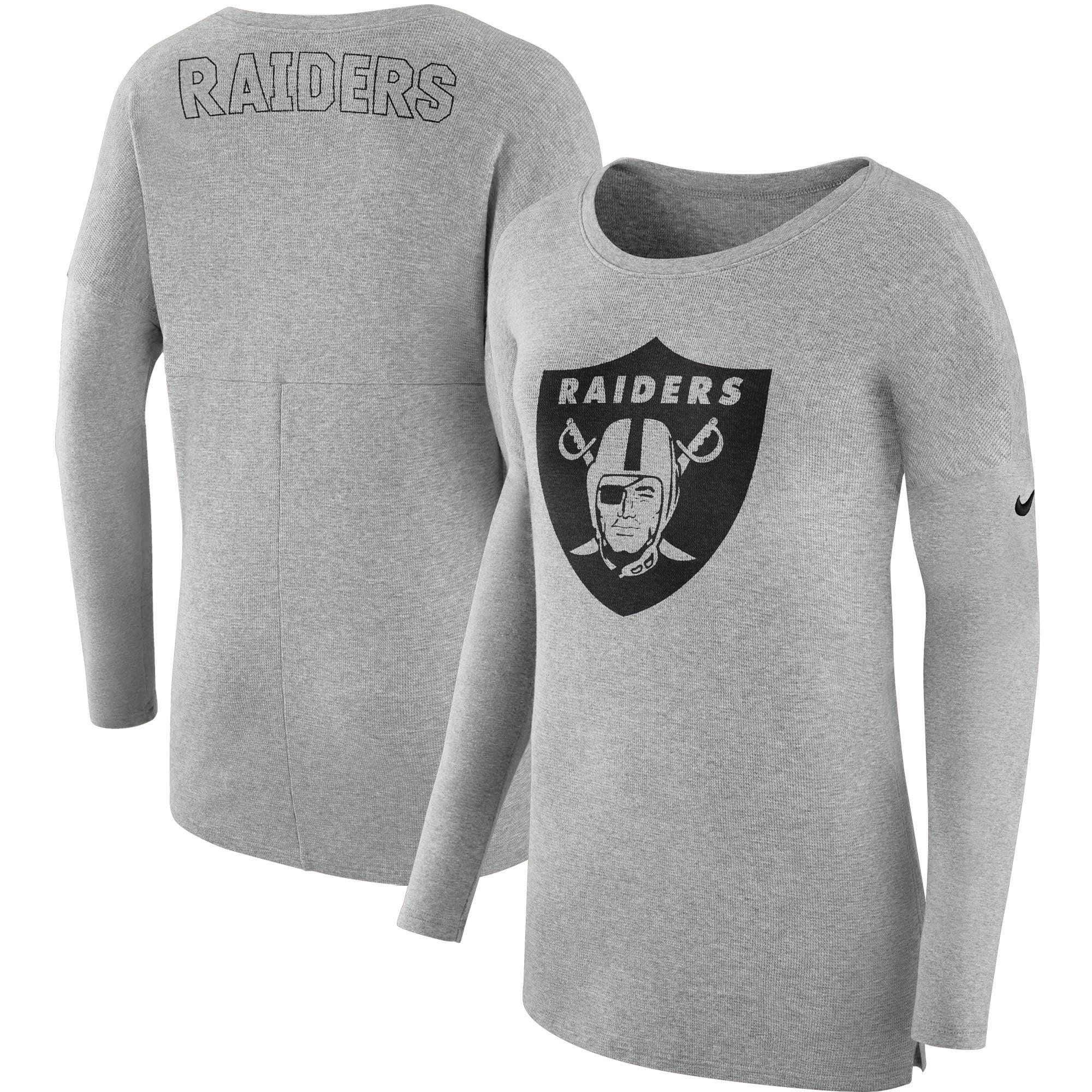 Oakland Raiders Nike Women's Cozy French Terry Crew Sweatshirt - Heathered Gray