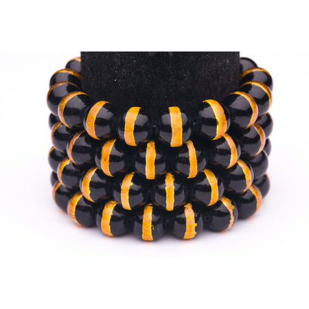 Black Gold Foiled Glass Pearls 12mm Round Sold per pkg of 2x32Inch