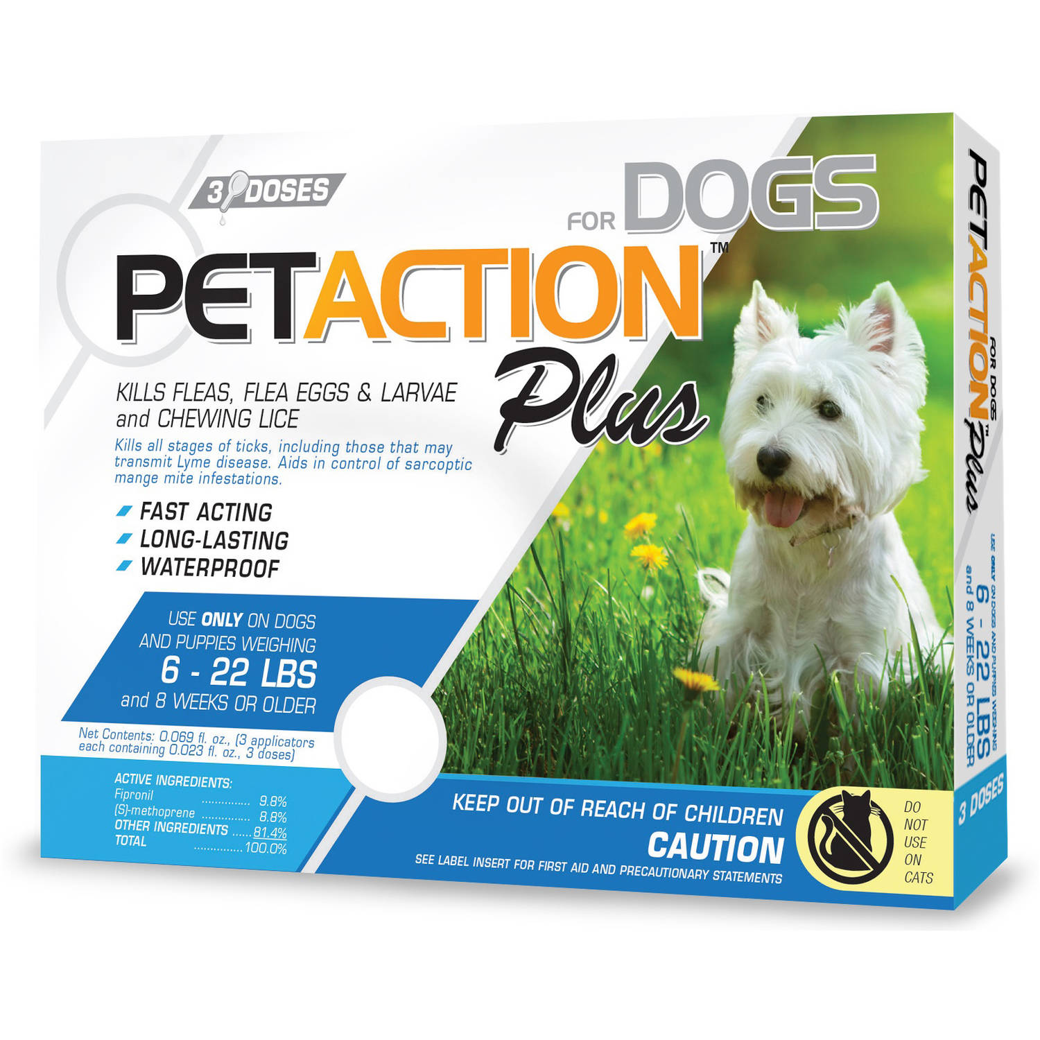 PetAction Plus Flea and Tick Protection for Dogs 6-22 lbs, 3-Month Supply