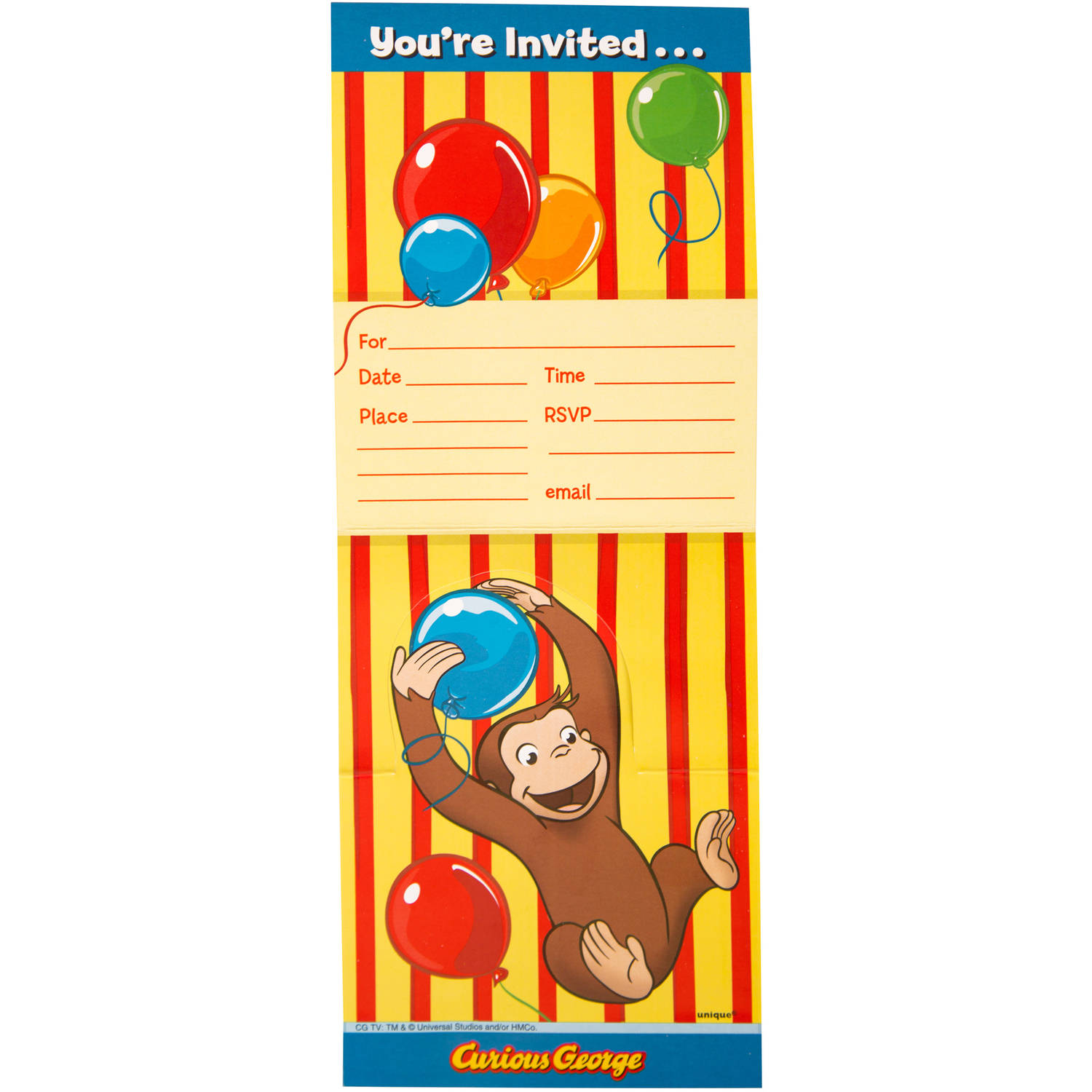 Curious George Invitations 8ct Walmart