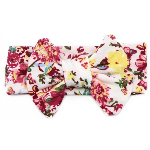Iuhan Baby Elastic Flowers Big Bowknot Headband Girl Headdress Khaki
