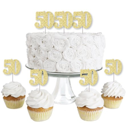 Gold Glitter 50 - No-Mess Real Gold Glitter Dessert Cupcake Toppers - 50th Birthday Party Clear Treat Picks - Set of 24