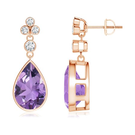 c9a7a0a98 Angara - Mother's Day Jewelry Sale - Bezel-Set Amethyst Teardrop Earrings  with Diamond Accents in 14K Rose Gold (12x8mm Amethyst) -  SE1036AMD-RG-A-12x8 ...