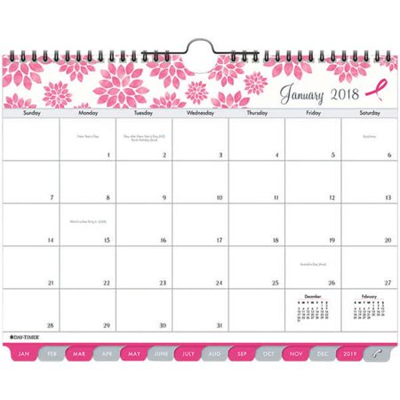 Day Timer 11259 8.5 x 11 in. Pink Ribbon Tabbed Wall 2017 Calendar