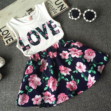Toddler Baby Kids Girls Summer Tank Vest Tops T-Shirt Floral Skirt Dress 2PCS Outfit Set Clothes Navy Blue 2-3 Years ()
