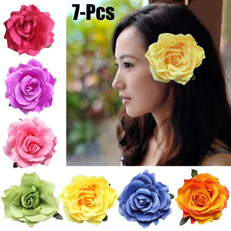 7Pcs Hair Clip, Aniwon Multicolor Bohemian Rose Flower Beach Hair Clip Barrettes Hair Pin Brooch Dance Wedding Party Travel Hair Accessories for Women Girls
