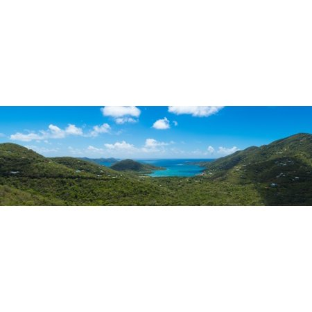 Island in the sea Coral Bay St John US Virgin Islands Canvas Art - Panoramic Images (27 x