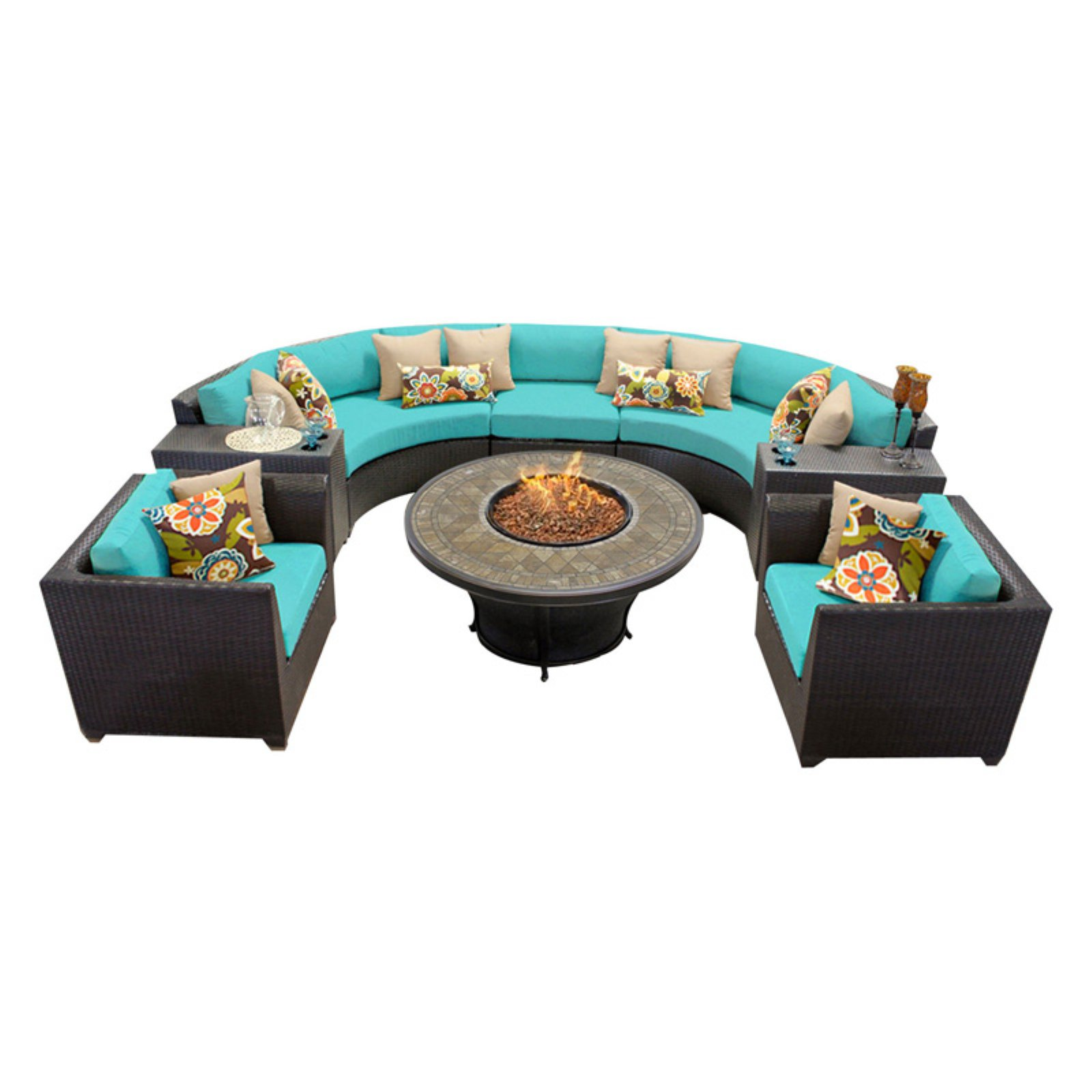 TK Classics Barbados Wicker 8 Piece Patio Conversation Set with Firepit Table and 2 Sets of Cushion Covers by TK Classics
