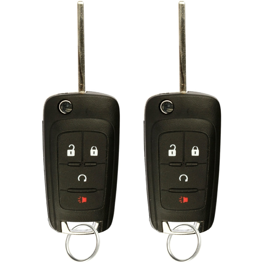 2 PACK KeylessOption Keyless Entry Remote Control Car Uncut Flip Key Fob Replacement OHT01060512 for 2010-2016 Chevy Equinox Impala Sonic GMC Terrain