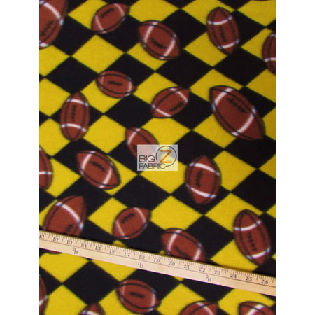 Football Yard (Fleece Printed Fabric Sports Football / Yellow Black Checkered / Sold By The Yard)