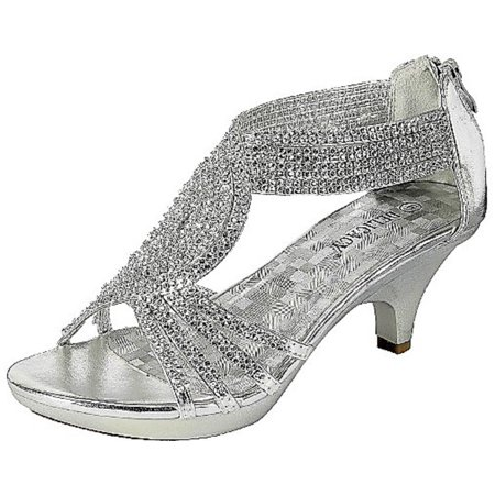 - Angel-37 Women Party Evening Dress Bridal Wedding Rhinestone Platform Kitten Heel Sandal Shoes Silver