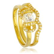 Real 925 Sterling Silver Goldtone with Cz Ribbon Design Caged Stone Engagement Ring 2 Piece Set Sizes 6-9 (7)
