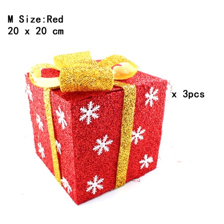 Wooden Christmas Yard Art - Pack of 3 Lighted Christmas Snowflakes Gift Wrap Boxes Yard Art Holiday Decoration (NOT Included LED light), Red, M