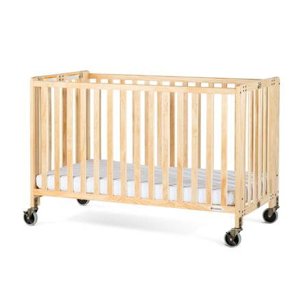 Baby Natural Wood - Foundations HideAway Full-Size Portable Wood Crib with Mattress, Natural