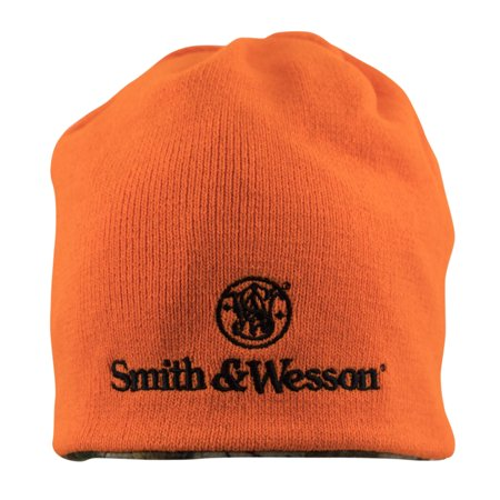- Offically Licensed Smith & Wesson Mens Reversible Blaze Orange Camo Beanie with embroidered Stacked Logo