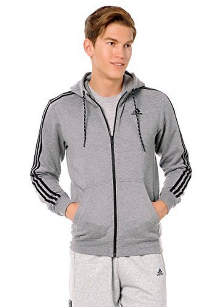Adidas Mens ESS 3S FZ HOODB, CORHTR,BLACK by