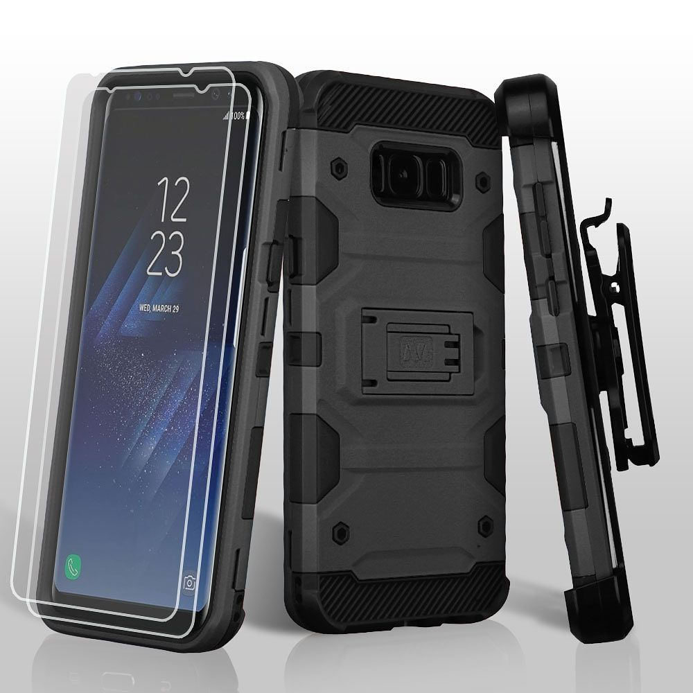 Samsung Galaxy S8+ Case, Samsung Galaxy S8 Plus Case, by Insten 3-in-1 Storm Tank Hybrid Holster Case with 2x Protectors For Samsung Galaxy S8+ S8 Plus - Black