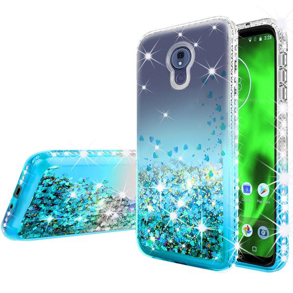 Moto G7 Power Case, Moto G7 Supra Case Ring Stand Glitter Liquid Quicksand Waterfall Floating Sparkle Shiny Bling Diamond Girls Cute Shock Proof Phone Case Cover, Purple/Blue - image 4 of 5