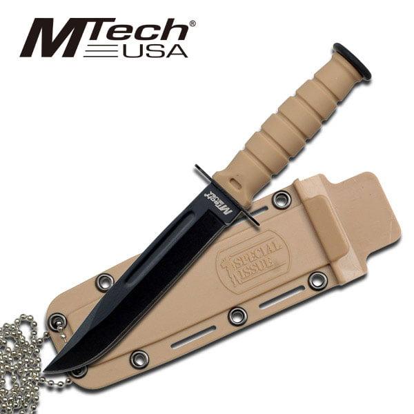 MTech USA Desert Tan Stainless Steel Fixed Blade Knife MT-632DT