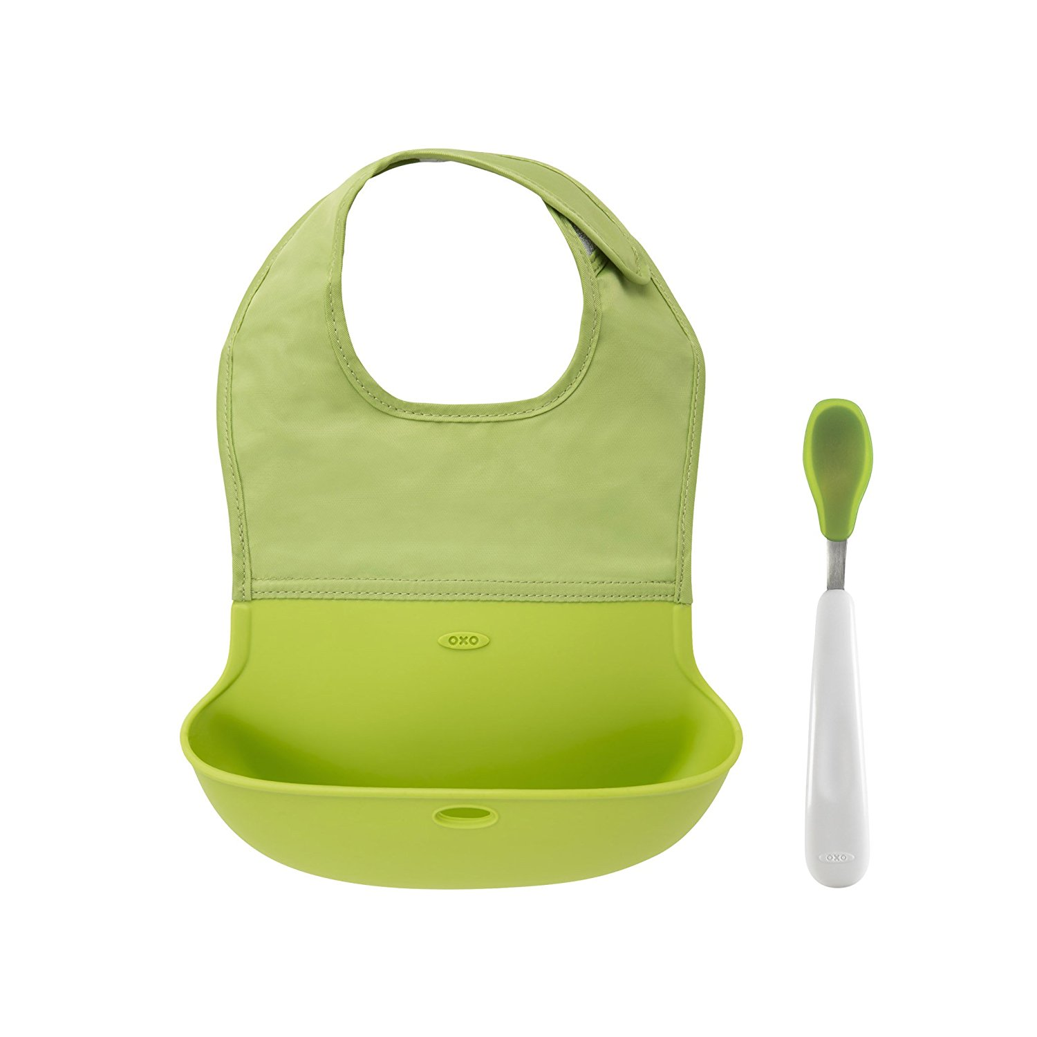 OXO Tot On-the-Go Bib and Spoon Set Green by OXO International, Ltd.