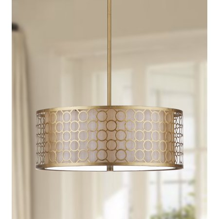 - Safavieh Giotta 18 in. Diameter Drum Pendant Light, Antique Gold