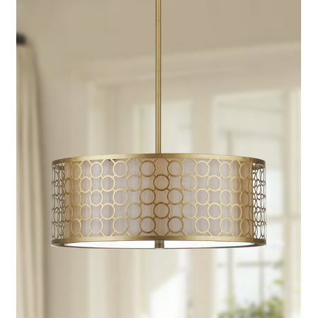 Safavieh Giotta 18 in. Diameter Drum Pendant Light, Antique Gold