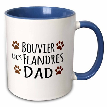 3dRose Bouvier des Flandres Dog Dad - Doggie by breed - brown muddy paw prints love - doggy lover pet owner - Two Tone Blue Mug, 11-ounce