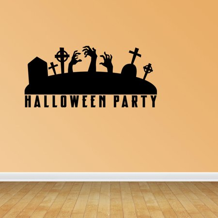 The Neighbors Halloween Quotes (Wall Decal Quote Halloween Scene Halloween Party Decal Zombie Crows Decal Vinyl Sticker Halloween Party Decor)