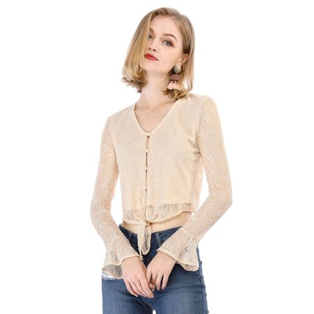 Unique Bargains Women's Bell Sleeve V Neck Button Front Lace Tie Cropped Top (Size M / 10) Beige