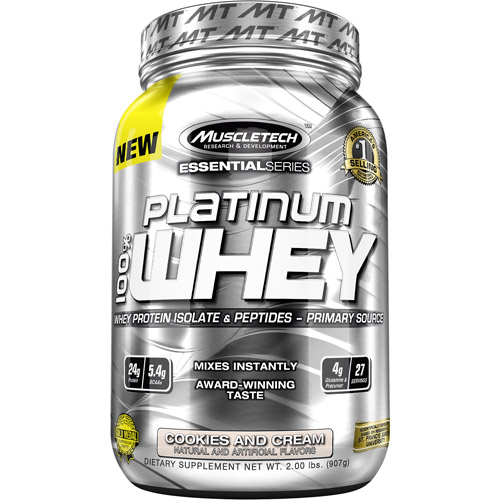 MuscleTech Essential Series Platinum 100% Whey Protein Isolate & Peptides Cookies and Cream Dietary Supplement Powder, 2 lbs
