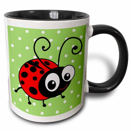 3dRose Cute ladybug green polka dot design - kawaii happy red and black spots ladybird cartoon lady bug, Two Tone Black Mug, 11oz