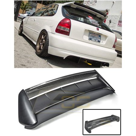 Extreme Online Store Replacement for 1996-2000 Honda Civic 3Dr Hatchback | EOS Seeker V2 Style Carbon Fiber Rear Roof Lip Wing with Primer Black Type-R Base Spoiler (Adult Online Stores)