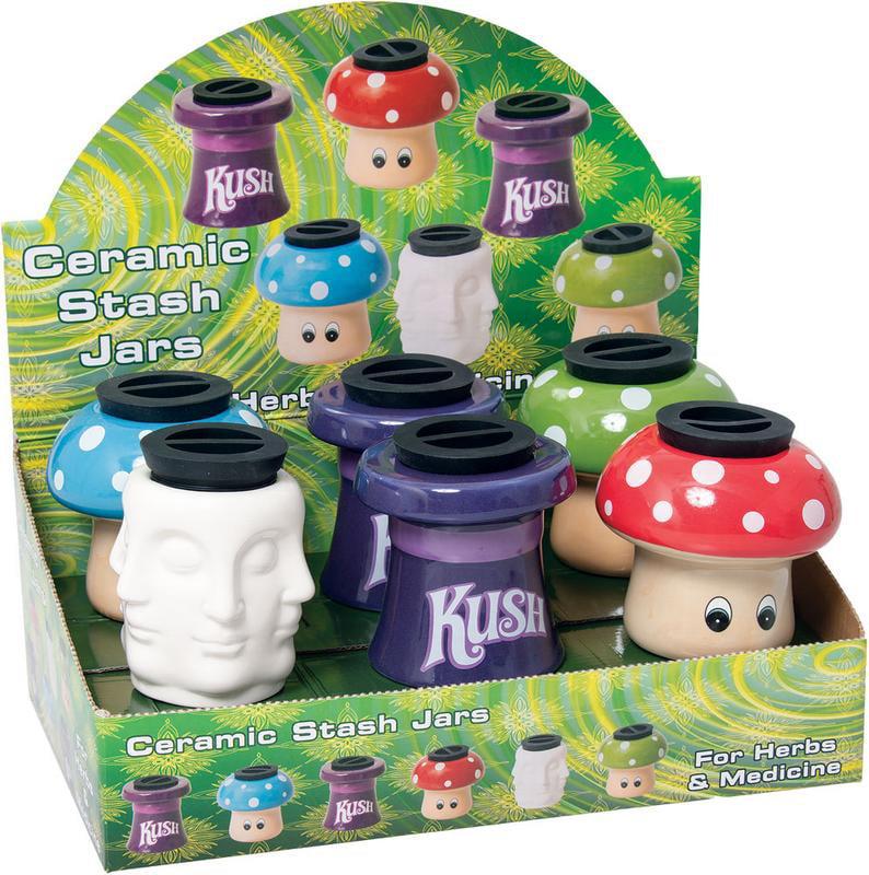 "6PC DISPLAY Ceramic Stash It! Storage Jars 3.5""  Assorted by"