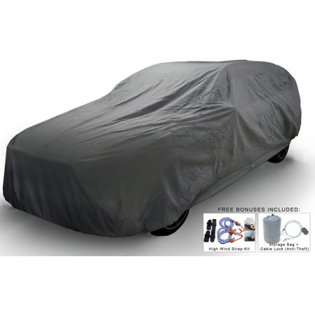 Weatherproof SUV Car Cover For Honda Pilot 2003-2015 - 5L Outdoor & Indoor - Protect From Rain, Snow, Hail, UV Rays, Sun & More - Fleece Lining - Includes Anti-Theft Cable Lock, Bag & Wind