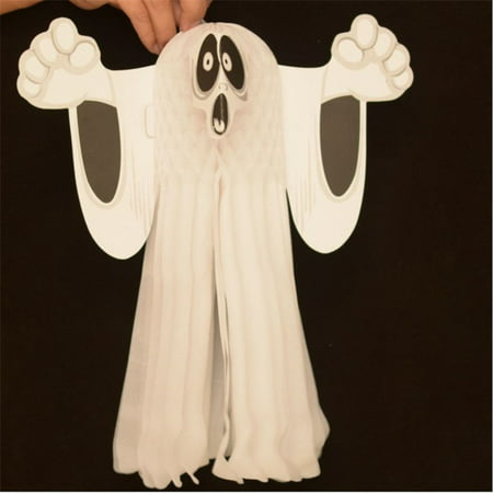 Lingstar 2016 Hot Halloween Paper Hanging Ghost Shroud Door Hanger Foldable Fun White Halloween Party Props Decoration Small Size