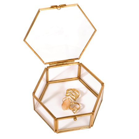 Home Details Vintage- Laced Copper Hexagon Bevelled Metal Glass Mirrored Bottom Jewelry Box W. Lid And
