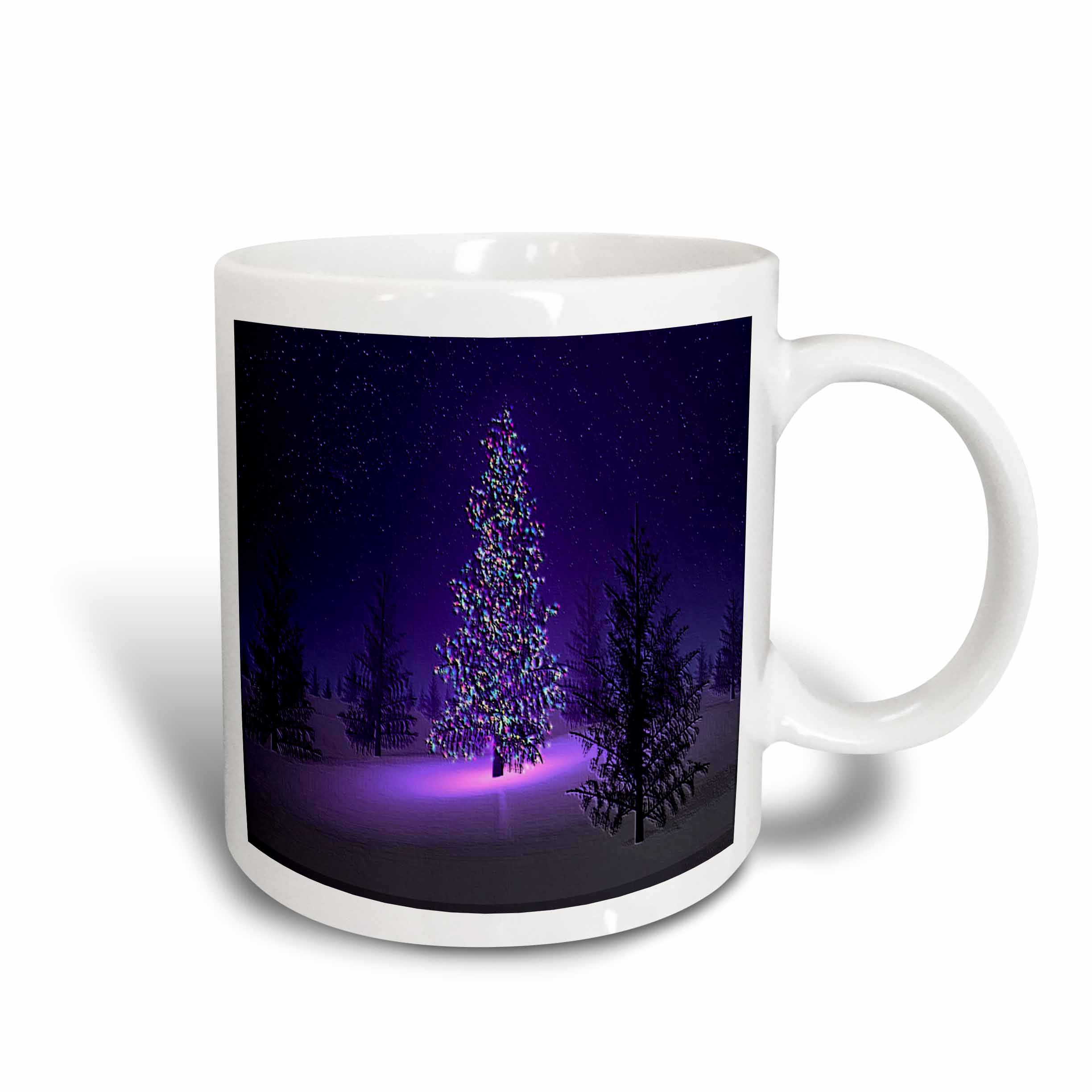 3dRose Lets Have A Purple Christmas, Ceramic Mug, 15-ounce