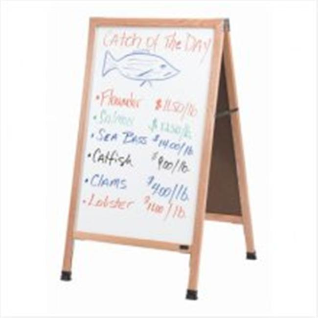 Aarco Products AA-35 Aluminum A-Frame Sidewalk White Marker Board