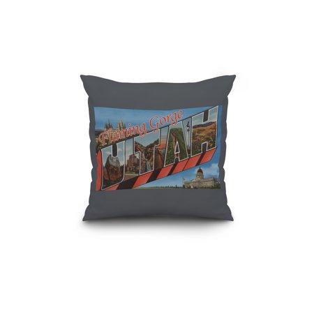 Flaming Gorge Utah Large Letter Scenes 18x18 Spun Polyester Pillow Cus